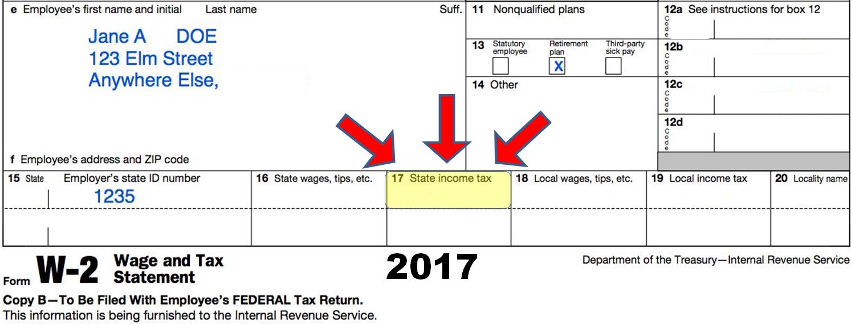W2 sample 2017 tax year